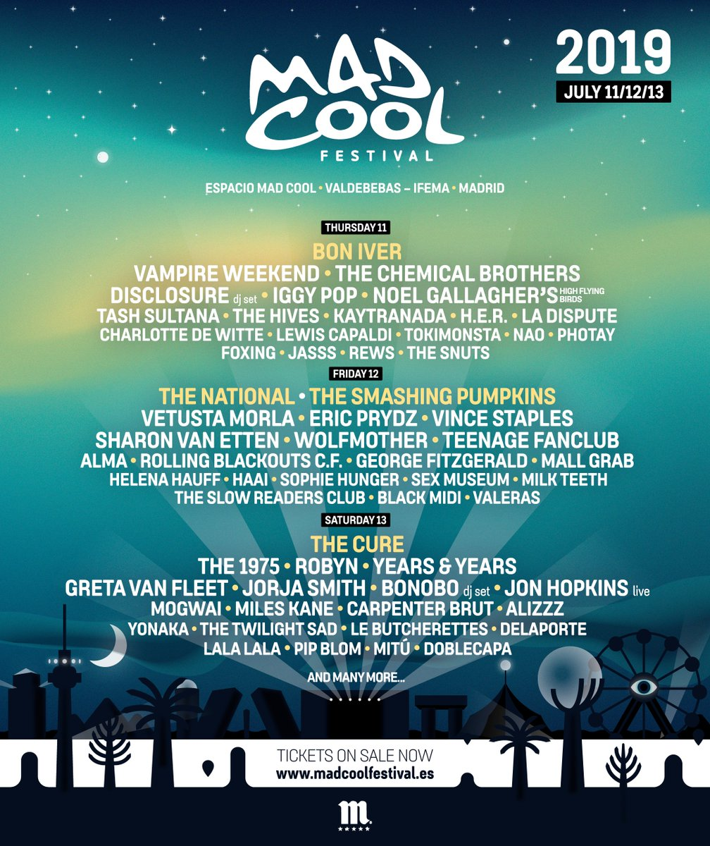 Mad Cool Festival no baja la guardia. The Chemical Brothers, Iggy Pop, Robyn, Disclosure, Years&Years, Vince Staples o Sharon Van Etten se une al festival.