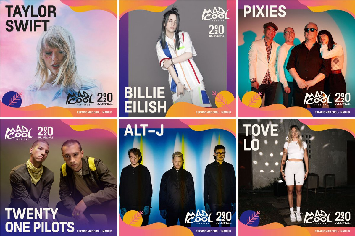 Taylor Swift, Billie Eilish, Pixies, Twenty One Pilots, Alt-J y Tove son las primeras confirmaciones para el Mad Cool Festival 2020.